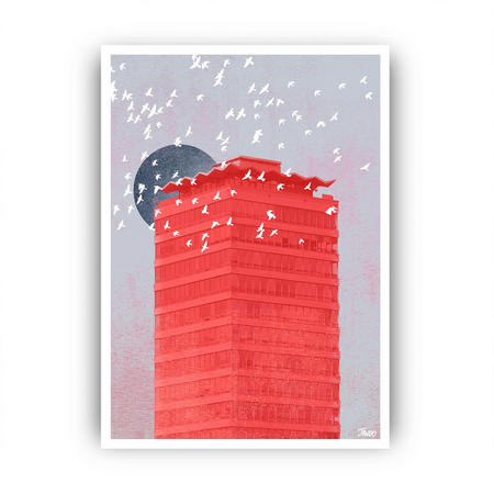 Liberty A3 Moon Framed Print Red