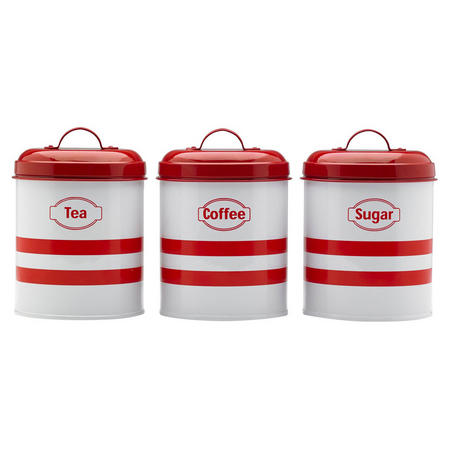 Set Of 3 Canister Red