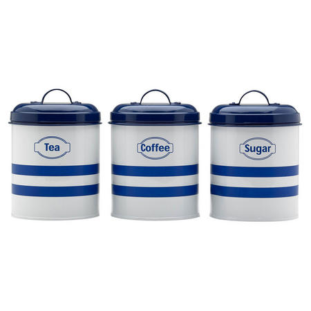 Set Of 3 Canister Blue