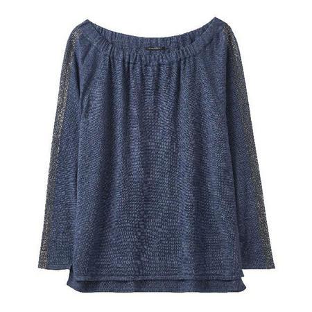 Mesh Sleeve Sweater Blue
