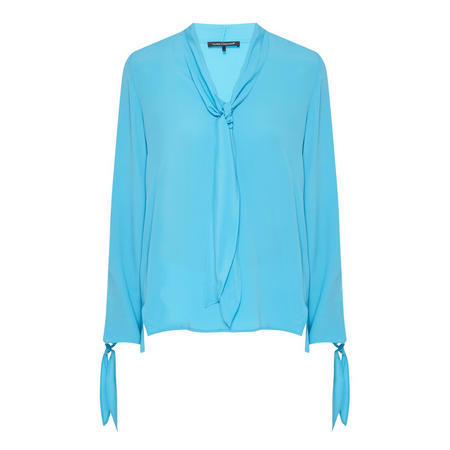 Pussy Bow Blouse Blue