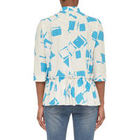 Square Print A-Line Blouse Blue