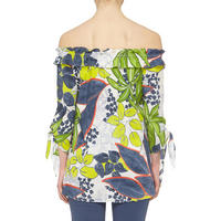 Leaf Print Frill Neck Blouse Multicolour