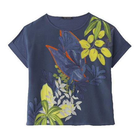 Leaf Print Cropped T-Shirt Navy