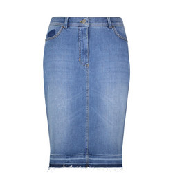 Contrast Denim Skirt Blue