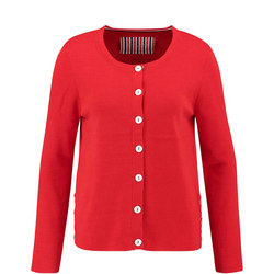 Contrast Button Cardigan Red
