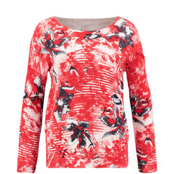 Multi Print Floral Sweater Red