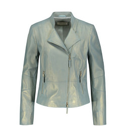 Metallic Biker Jacket Blue