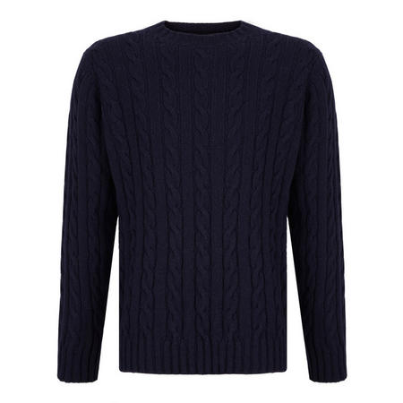 Cable Knit Crew Neck Jumper Blue