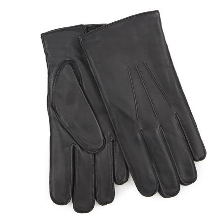 Fleece Lined Leather Gloves Black