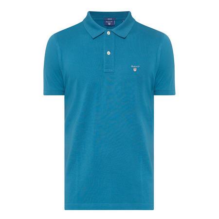 Short Sleeve Pique Polo Shirt Blue