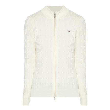 Cable Knit Zip-Through Sweater Cream