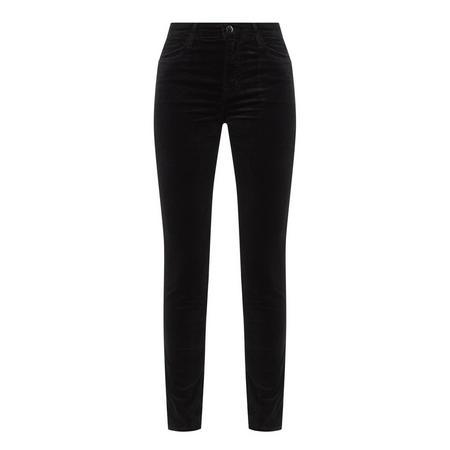 Maria High-Rise Velvet Skinny Jeans Black