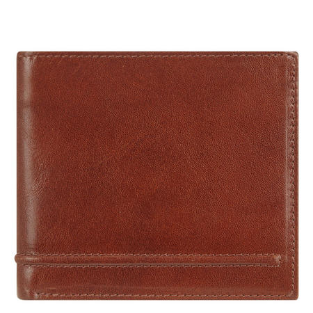 Waxed Leather Slim Billfold Wallet Tan Brown