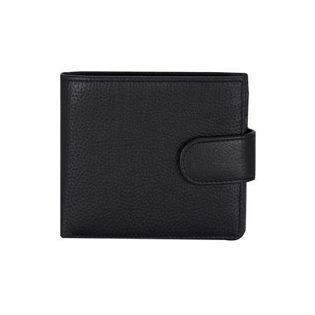 Pebble Grain Leather Slim Billfold Tab Wallet Black