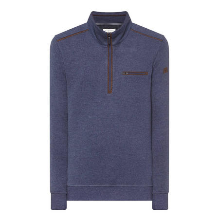 Suede Trim Half-Zip Sweater Blue