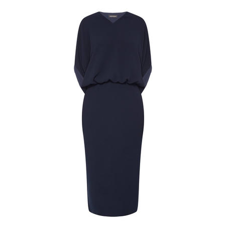 Henley Drape Sleeve Dress Navy