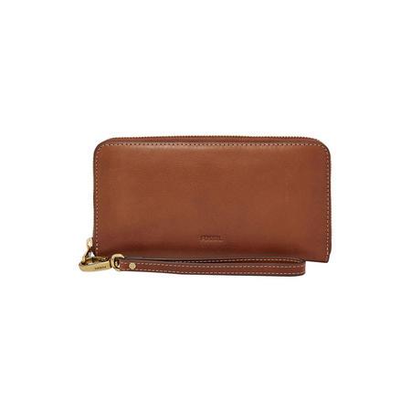 Emma RFID Large Zip Wallet Brown