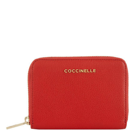 Leather Zip-Around Wallet Small Red