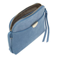 Pochette Top Zip Suede Crossbody Blue