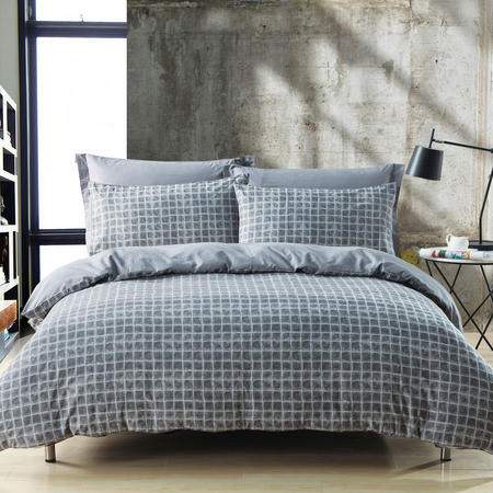 Check Duvet Set Grey