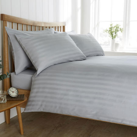 200 Thread Count Satin Stripe Duvet Set Grey