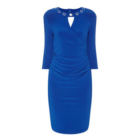 Embellished Collar Pencil Dress   Blue
