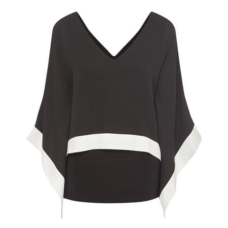 Colour-Shoulder Layered Blouse Black