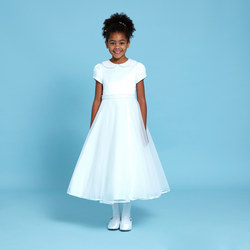 Pearl Collar Communion Dress White