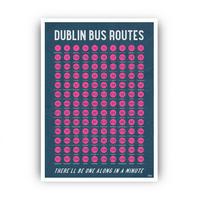 Dublin Bus Routes A3 Framed Print Black