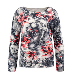 Floral Stripe Long Sleeve Sweater Blue