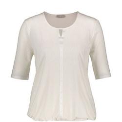 Elastic Hem Tunic Blouse Cream