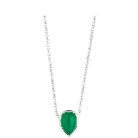Silver Coral Green Onyx Seadrop Pendant