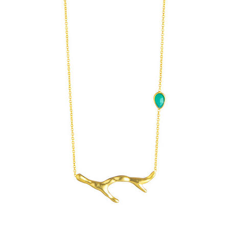 Gold Coral Necklace Green Onyx