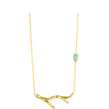 Gold Coral Aqua Chalcedony Necklace
