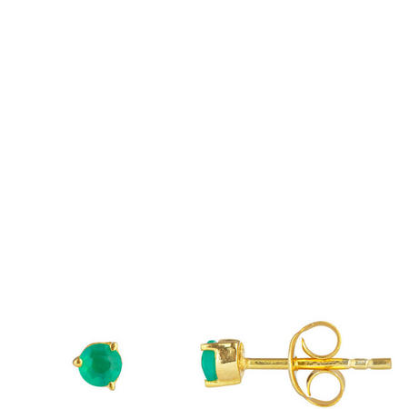 Gold Green Onyx Stud Earrings