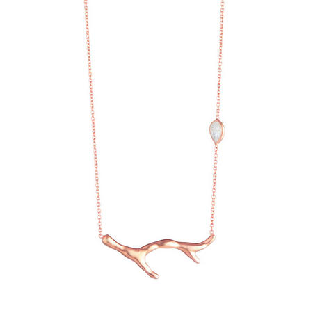 Rose Gold Coral Moonstone Necklace
