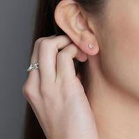 Silver Clear Quartz Stud Earrings