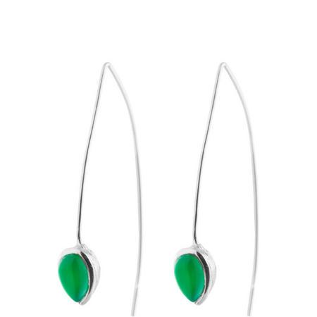 Silver Coral Green Onyx Seadrop Earrings