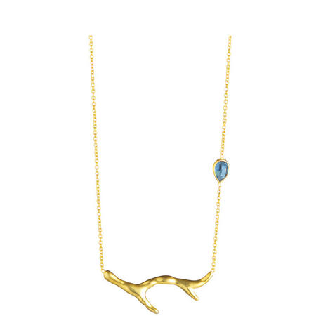 Gold Coral Iolite Necklace