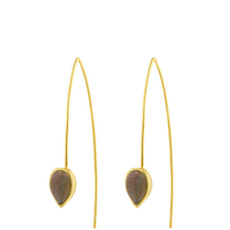 Gold Coral Labradorite Seadrop Earrings
