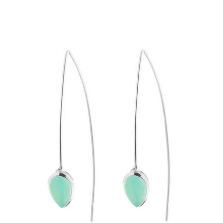 Silver Coral Aqua Chalcedony Seadrop Earrings