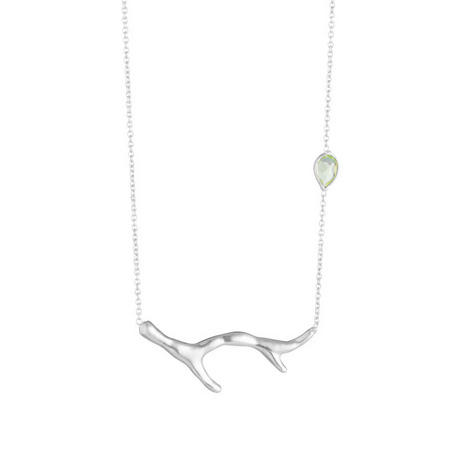 Silver Coral Green Amethyst Necklace