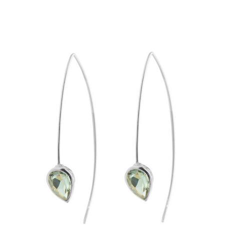 Silver Coral Green Amethyst Seadrop Earrings
