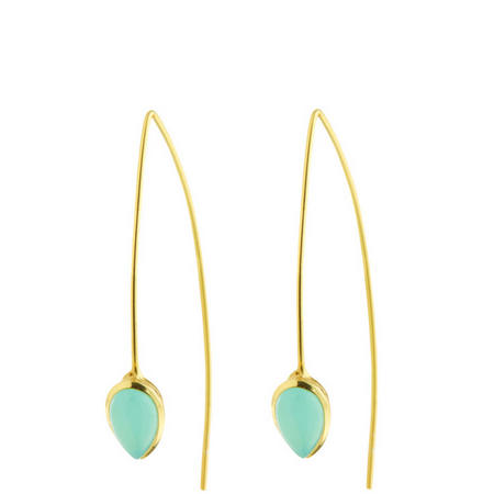 Gold Coral Aqua Chalcedony Seadrop Earrings