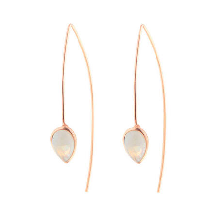 Rose Gold Coral Moonstone Seadrop Earrings