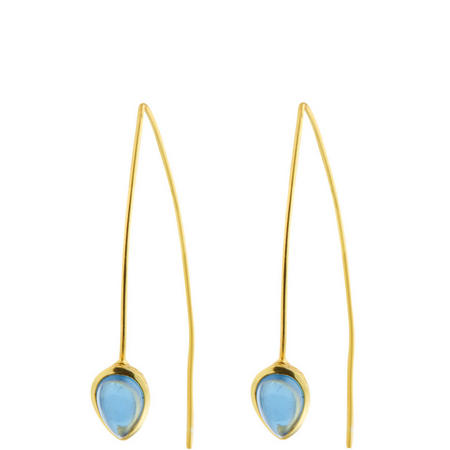 Gold Coral Iolite Seadrop Earrings