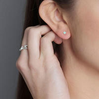 Silver Aqua Chalcedony Stud Earrings