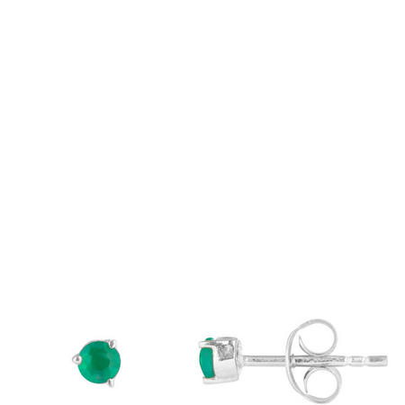 Silver Green Onyx Stud Earrings
