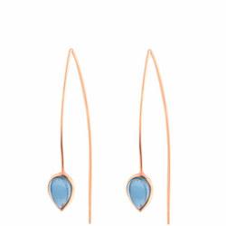 Rose Gold Coral Iolite Seadrop Earrings